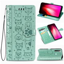 Embossing Dog Paw Kitten and Puppy Leather Wallet Case for Mi Xiaomi Redmi Note 8T - Green