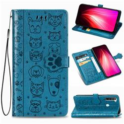 Embossing Dog Paw Kitten and Puppy Leather Wallet Case for Mi Xiaomi Redmi Note 8T - Blue