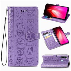 Embossing Dog Paw Kitten and Puppy Leather Wallet Case for Mi Xiaomi Redmi Note 8T - Purple