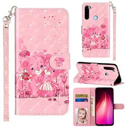 Pink Bear 3D Leather Phone Holster Wallet Case for Mi Xiaomi Redmi Note 8T