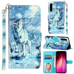 Snow Wolf 3D Leather Phone Holster Wallet Case for Mi Xiaomi Redmi Note 8T