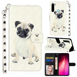 Pug Dog 3D Leather Phone Holster Wallet Case for Mi Xiaomi Redmi Note 8T