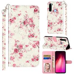 Rambler Rose Flower 3D Leather Phone Holster Wallet Case for Mi Xiaomi Redmi Note 8T