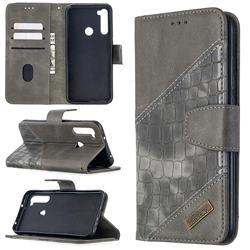BinfenColor BF04 Color Block Stitching Crocodile Leather Case Cover for Mi Xiaomi Redmi Note 8T - Gray