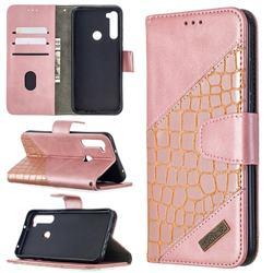 BinfenColor BF04 Color Block Stitching Crocodile Leather Case Cover for Mi Xiaomi Redmi Note 8T - Rose Gold