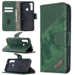 BinfenColor BF04 Color Block Stitching Crocodile Leather Case Cover for Mi Xiaomi Redmi Note 8T - Green
