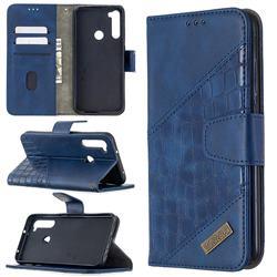 BinfenColor BF04 Color Block Stitching Crocodile Leather Case Cover for Mi Xiaomi Redmi Note 8T - Blue