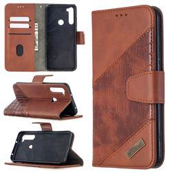 BinfenColor BF04 Color Block Stitching Crocodile Leather Case Cover for Mi Xiaomi Redmi Note 8T - Brown