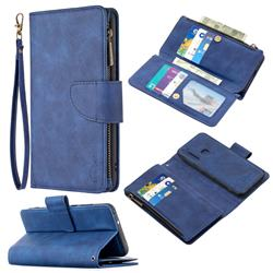 Binfen Color BF02 Sensory Buckle Zipper Multifunction Leather Phone Wallet for Mi Xiaomi Redmi Note 8T - Blue