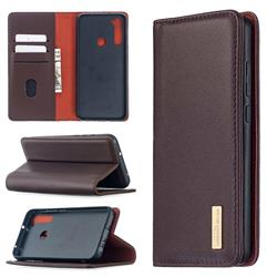 Binfen Color BF06 Luxury Classic Genuine Leather Detachable Magnet Holster Cover for Mi Xiaomi Redmi Note 8T - Dark Brown