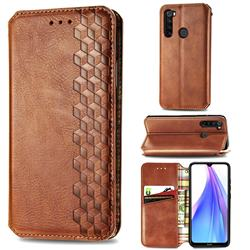 Ultra Slim Fashion Business Card Magnetic Automatic Suction Leather Flip Cover for Mi Xiaomi Redmi Note 8T - Brown