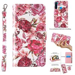 Red Flower 3D Painted Leather Wallet Case for Mi Xiaomi Redmi Note 8T