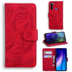 Intricate Embossing Tiger Face Leather Wallet Case for Mi Xiaomi Redmi Note 8T - Red