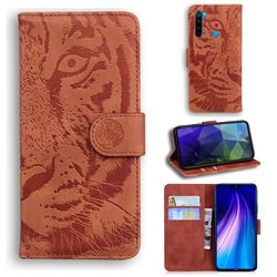 Intricate Embossing Tiger Face Leather Wallet Case for Mi Xiaomi Redmi Note 8T - Brown