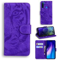 Intricate Embossing Tiger Face Leather Wallet Case for Mi Xiaomi Redmi Note 8T - Purple