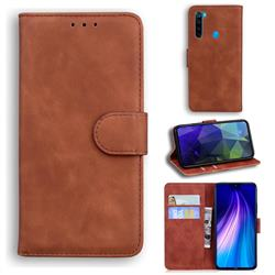 Retro Classic Skin Feel Leather Wallet Phone Case for Mi Xiaomi Redmi Note 8T - Brown