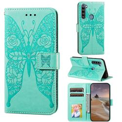 Intricate Embossing Rose Flower Butterfly Leather Wallet Case for Mi Xiaomi Redmi Note 8T - Green