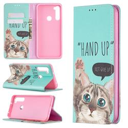 Hand Up Cat Slim Magnetic Attraction Wallet Flip Cover for Mi Xiaomi Redmi Note 8T