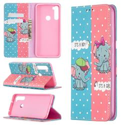 Elephant Boy and Girl Slim Magnetic Attraction Wallet Flip Cover for Mi Xiaomi Redmi Note 8T