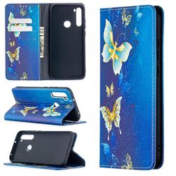 Gold Butterfly Slim Magnetic Attraction Wallet Flip Cover for Mi Xiaomi Redmi Note 8T