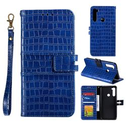 Luxury Crocodile Magnetic Leather Wallet Phone Case for Mi Xiaomi Redmi Note 8T - Blue