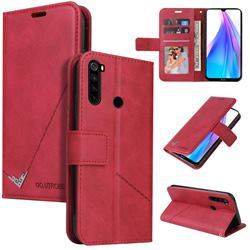 GQ.UTROBE Right Angle Silver Pendant Leather Wallet Phone Case for Mi Xiaomi Redmi Note 8T - Red