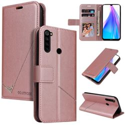 GQ.UTROBE Right Angle Silver Pendant Leather Wallet Phone Case for Mi Xiaomi Redmi Note 8T - Rose Gold