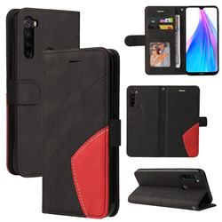 Luxury Two-color Stitching Leather Wallet Case Cover for Mi Xiaomi Redmi Note 8T - Black
