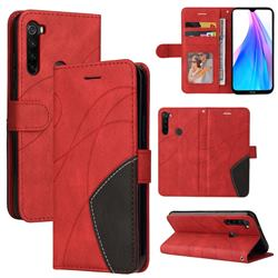 Luxury Two-color Stitching Leather Wallet Case Cover for Mi Xiaomi Redmi Note 8T - Red