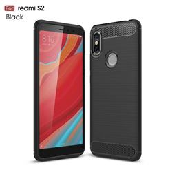 Luxury Carbon Fiber Brushed Wire Drawing Silicone TPU Back Cover for Mi Xiaomi Redmi S2 (Redmi Y2) - Black