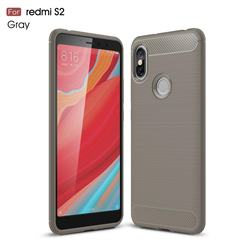 Luxury Carbon Fiber Brushed Wire Drawing Silicone TPU Back Cover for Mi Xiaomi Redmi S2 (Redmi Y2) - Gray