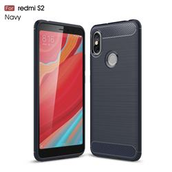 Luxury Carbon Fiber Brushed Wire Drawing Silicone TPU Back Cover for Mi Xiaomi Redmi S2 (Redmi Y2) - Navy