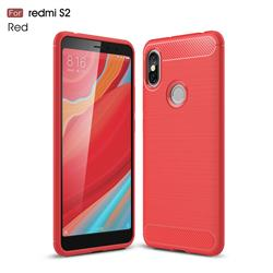 Luxury Carbon Fiber Brushed Wire Drawing Silicone TPU Back Cover for Mi Xiaomi Redmi S2 (Redmi Y2) - Red