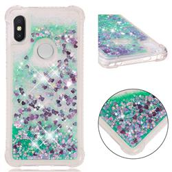 Dynamic Liquid Glitter Sand Quicksand TPU Case for Mi Xiaomi Redmi S2 (Redmi Y2) - Green Love Heart