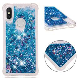Dynamic Liquid Glitter Sand Quicksand TPU Case for Mi Xiaomi Redmi S2 (Redmi Y2) - Blue Love Heart