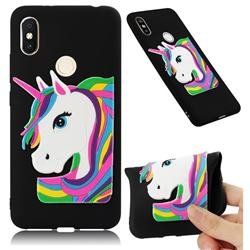Rainbow Unicorn Soft 3D Silicone Case for Mi Xiaomi Redmi S2 (Redmi Y2) - Black
