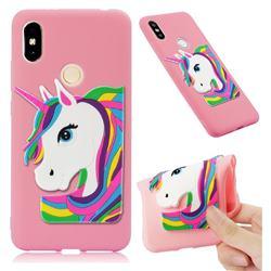 Rainbow Unicorn Soft 3D Silicone Case for Mi Xiaomi Redmi S2 (Redmi Y2) - Pink