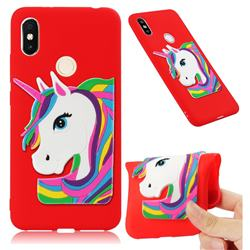 Rainbow Unicorn Soft 3D Silicone Case for Mi Xiaomi Redmi S2 (Redmi Y2) - Red