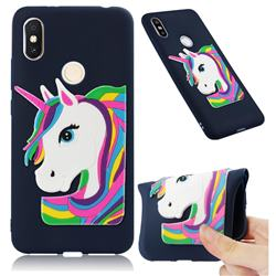 Rainbow Unicorn Soft 3D Silicone Case for Mi Xiaomi Redmi S2 (Redmi Y2) - Navy