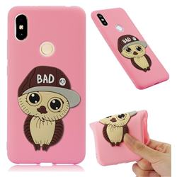 Bad Boy Owl Soft 3D Silicone Case for Mi Xiaomi Redmi S2 (Redmi Y2) - Pink