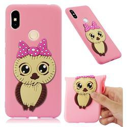 Bowknot Girl Owl Soft 3D Silicone Case for Mi Xiaomi Redmi S2 (Redmi Y2) - Pink