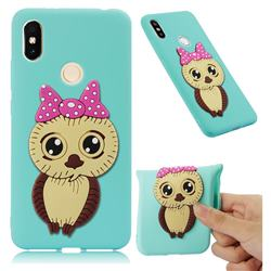 Bowknot Girl Owl Soft 3D Silicone Case for Mi Xiaomi Redmi S2 (Redmi Y2) - Sky Blue
