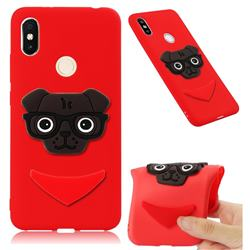 Glasses Dog Soft 3D Silicone Case for Mi Xiaomi Redmi S2 (Redmi Y2) - Red