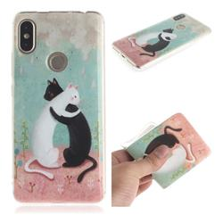 Black and White Cat IMD Soft TPU Cell Phone Back Cover for Mi Xiaomi Redmi S2 (Redmi Y2)