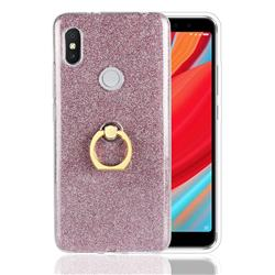 Luxury Soft TPU Glitter Back Ring Cover with 360 Rotate Finger Holder Buckle for Mi Xiaomi Redmi S2 (Redmi Y2) - Pink
