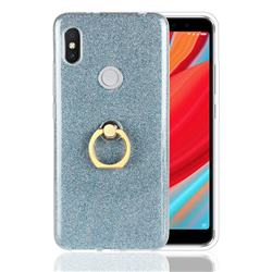 Luxury Soft TPU Glitter Back Ring Cover with 360 Rotate Finger Holder Buckle for Mi Xiaomi Redmi S2 (Redmi Y2) - Blue