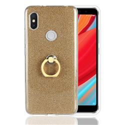 Luxury Soft TPU Glitter Back Ring Cover with 360 Rotate Finger Holder Buckle for Mi Xiaomi Redmi S2 (Redmi Y2) - Golden