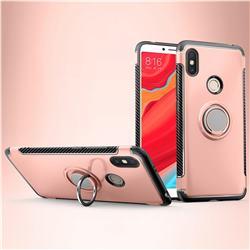 Armor Anti Drop Carbon PC + Silicon Invisible Ring Holder Phone Case for Mi Xiaomi Redmi S2 (Redmi Y2) - Rose Gold