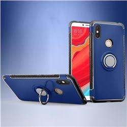 Armor Anti Drop Carbon PC + Silicon Invisible Ring Holder Phone Case for Mi Xiaomi Redmi S2 (Redmi Y2) - Sapphire