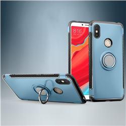 Armor Anti Drop Carbon PC + Silicon Invisible Ring Holder Phone Case for Mi Xiaomi Redmi S2 (Redmi Y2) - Navy